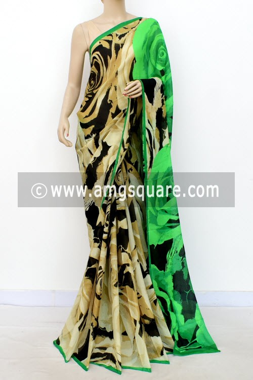 Beige Black Designer Printed Wrinkle Georgette Saree (with Blouse) 16408