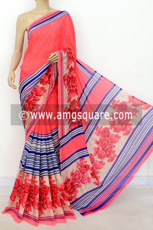 74d3d5cdcc Latest Trending Products. Peach Blue Printed Wrinkle Georgette Saree ...