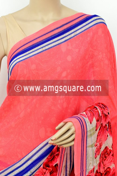 Peach Blue Printed Wrinkle Georgette Saree (with Blouse) 16409