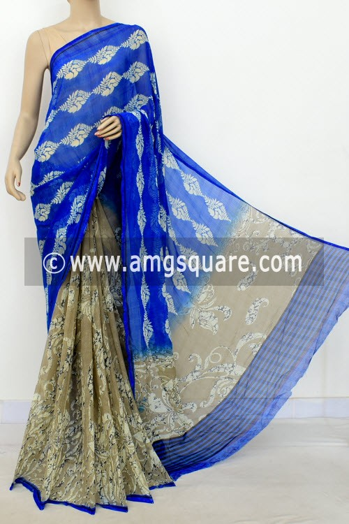 Royal Blue Chocolate Exclusive Half-Half Printed Semi-Chiffon Saree (with Blouse) 16411