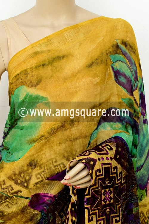 Mustared Brown Exclusive Printed Semi-Chiffon Saree (with Blouse) 16412