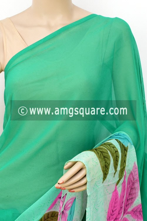 Green Printed Mul-Mul Georgette Saree (with Blouse) 16413