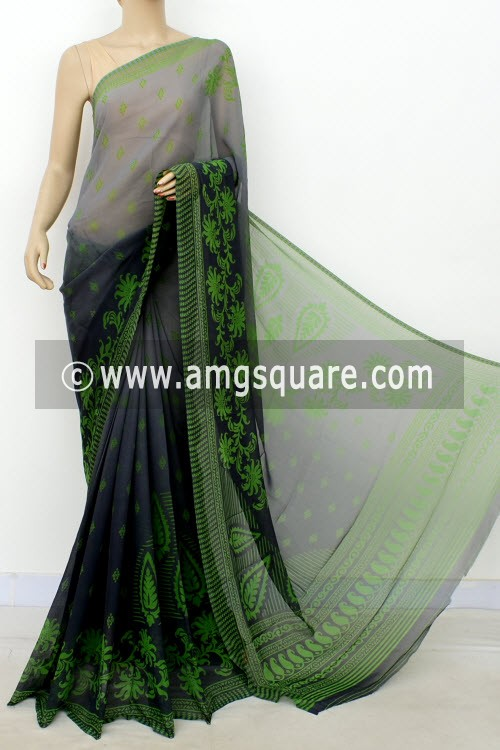 Grey Printed Mul-Mul Georgette Saree (with Blouse) 16414