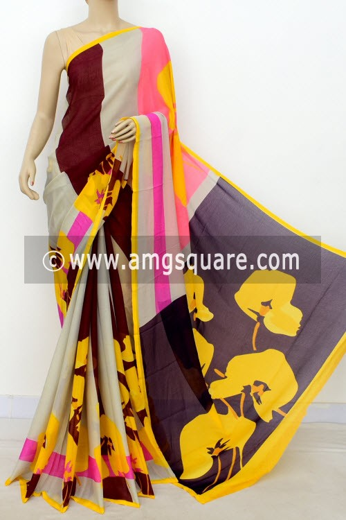 Maroon Yellow Printed Wrinkle Georgette Saree (with Blouse) 16417