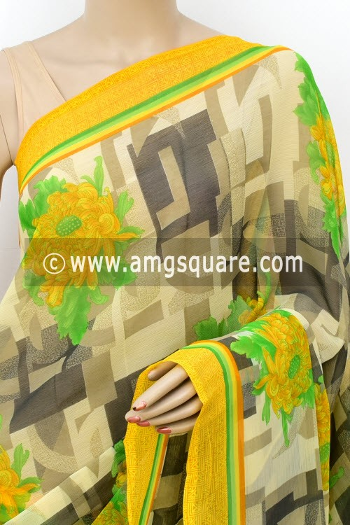 Grey Yellow Printed Chiffon Saree (with Blouse) 16420