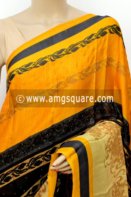 Yellow Black Exclusive Printed Semi-Chiffon Saree (with Blouse) 16421