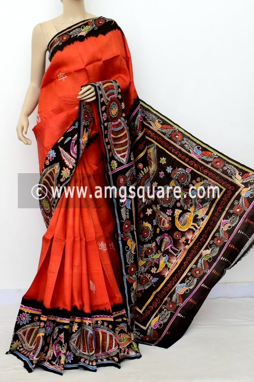 Rust Batik Print Handloom Double Knitted Pure Silk Saree (With Blouse) 16423