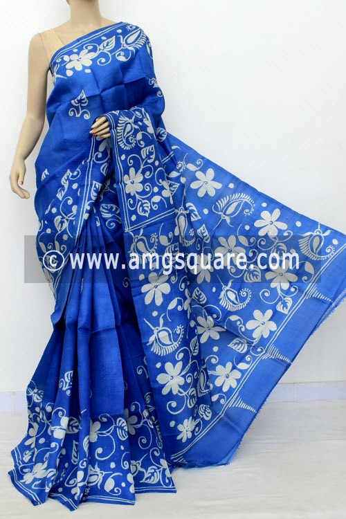 Royale Blue Batik Print Handloom Double Knitted Pure Silk Saree (With Blouse) 16424