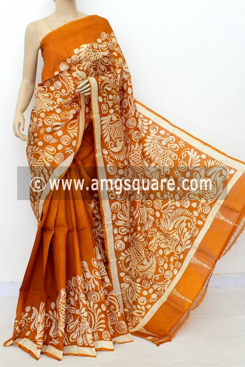 Mustard Yellow Batik Print Handloom Double Knitted Pure Silk Saree (With Blouse) 16425