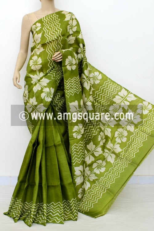 Menhdi Green Batik Print Handloom Double Knitted Pure Silk Saree (With Blouse) 16426