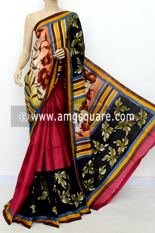 Maroon Black Printed Handloom Double Knitted Pure Silk Saree (With Blouse) 16427