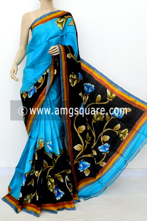 Pherozi Blue Printed Handloom Double Knitted Pure Silk Saree (With Blouse) 16428