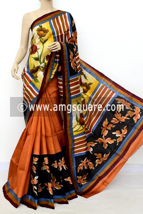 Rust Printed Handloom Double Knitted Pure Silk Saree (With Blouse) 16429