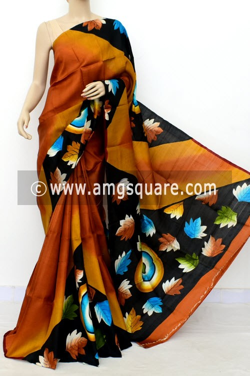 Rust Printed Handloom Double Knitted Pure Silk Saree (With Blouse) 16430