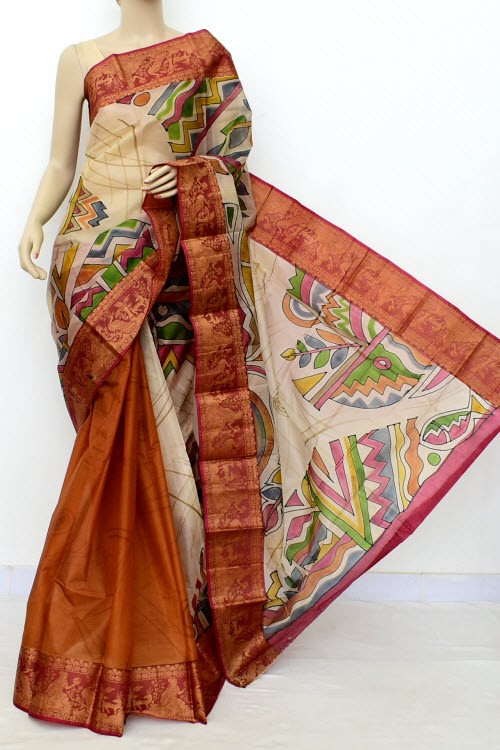 Rust Hand-Printed Handloom Double Knitted Pure Silk Saree (Without Blouse) 16432