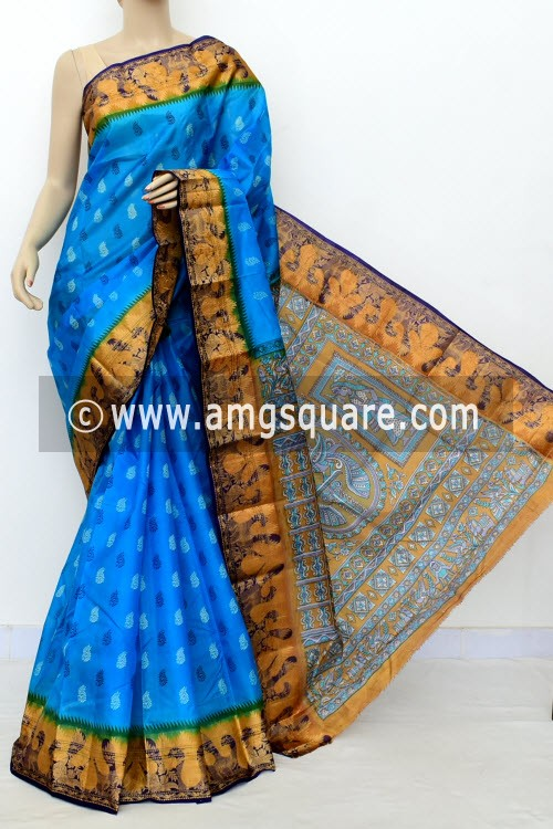 Pherozi Blue Printed Handloom Double Knitted Pure Silk Saree (Without Blouse) 16433