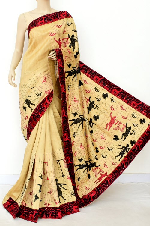 Beige Embroidred Pure Dupion Silk Saree (With Blouse) 16436