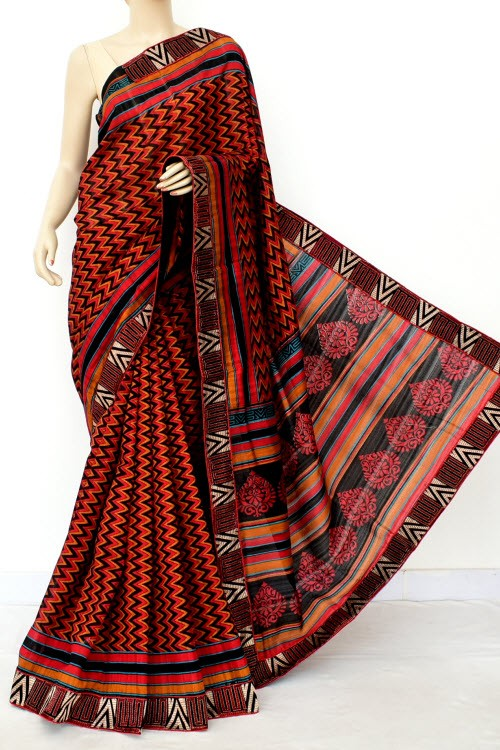 Red Black Exclusive Pure Dupion Silk Saree (With Blouse) 16437