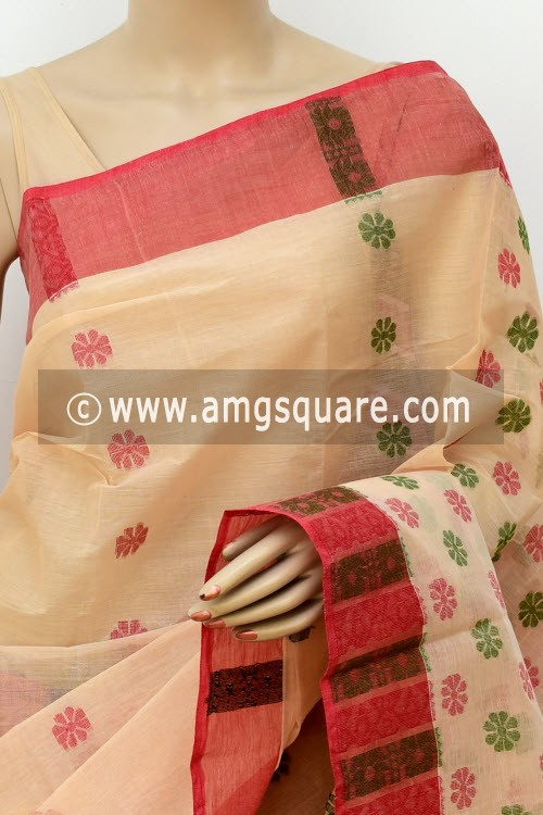 Fawn Handwoven Bengal Tant Cotton Saree (Without Blouse) 16983