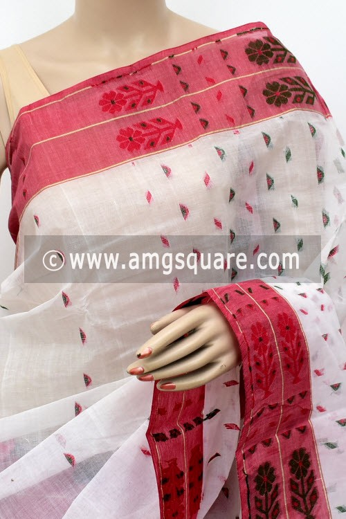 White Handwoven Bengal Tant Cotton Saree (Without Blouse) 16996