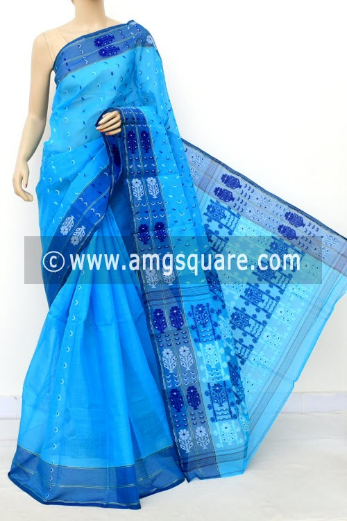 Pherozi Blue Handwoven Bengal Tant Cotton Saree (Without Blouse) 16998