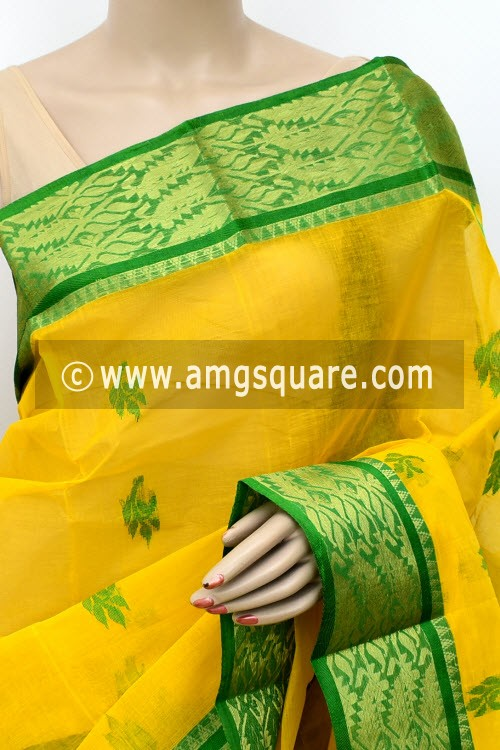 Deep Yellow Handwoven Bengal Tant Cotton Saree (Without Blouse) Zari Border 17006