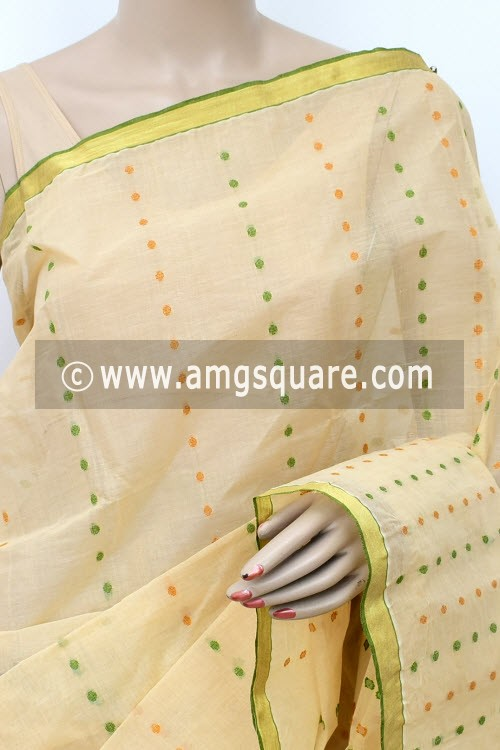 Beige Handwoven Thousand Booti Bengal Tant Cotton Saree (Without Blouse) 17022