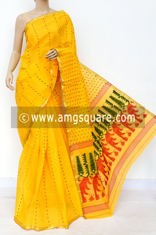 Deep Yellow Handwoven Thousand Booti Bengal Tant Cotton Saree (Without Blouse) 17027