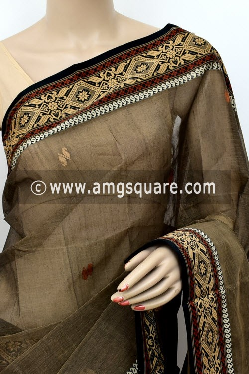 Chocolate Brown Designer Handwoven Bengal Tant Cotton Saree (Without Blouse) Resham Border 17034