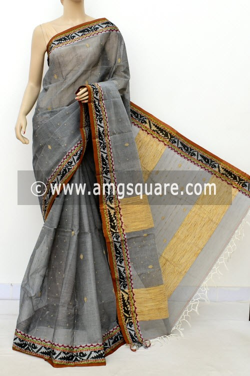 Grey Exclusive Handwoven Bengal Tant Cotton Saree (Without Blouse) Resham Border 17086