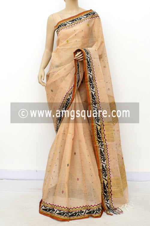 Fawn Exclusive Handwoven Bengal Tant Cotton Saree (Without Blouse) Resham Border 17087