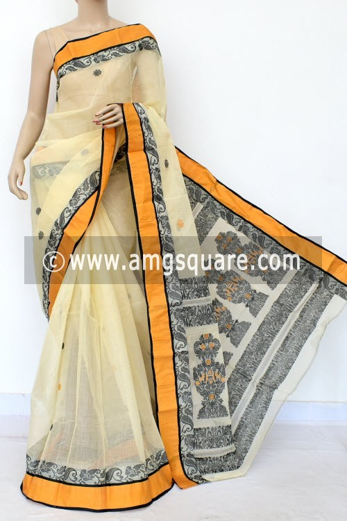 be70f6a362 Latest Trending Products. Off White Black Handwoven Bengal Tant Cotton Saree  ...