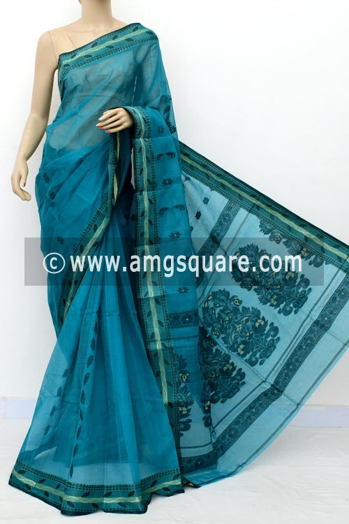 Deep Sea Green Handwoven Bengal Tant Cotton Saree (Without Blouse) Resham Border 17113