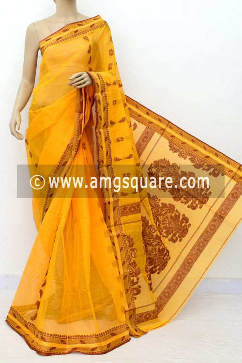 Orangish Yellow Handwoven Bengal Tant Cotton Saree (Without Blouse) Resham Border 17114
