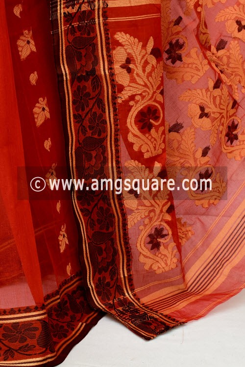 Rust Handwoven Bengal Tant Cotton Saree (Without Blouse) 17117