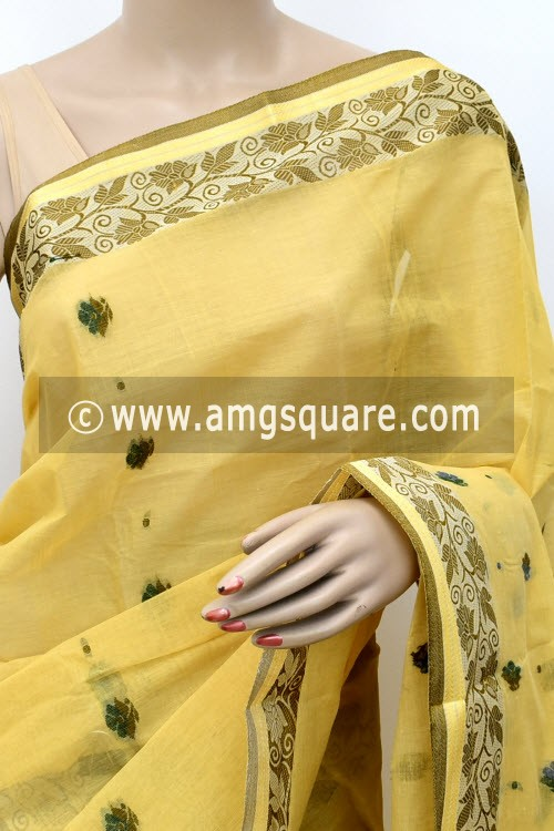 Beige Designer Handwoven Bengal Tant Cotton Saree (Without Blouse) Resham Border 17122