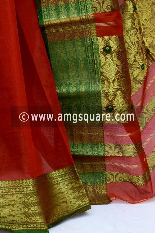 Rust Green Handwoven Bengal Tant Cotton Saree (Without Blouse) Zari Border & Pallu 17123