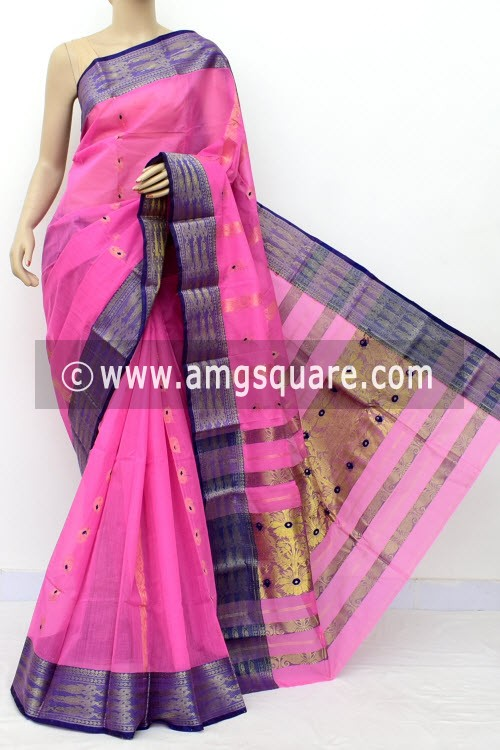Pink Purple Handwoven Bengal Tant Cotton Saree (Without Blouse) Zari Border & Pallu 17125