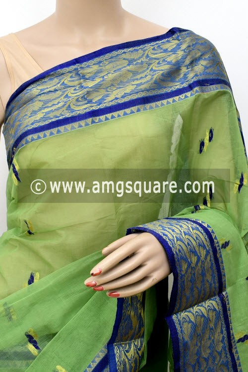 Pista Green Handwoven Bengal Tant Cotton Saree (Without Blouse) Zari Border 17127
