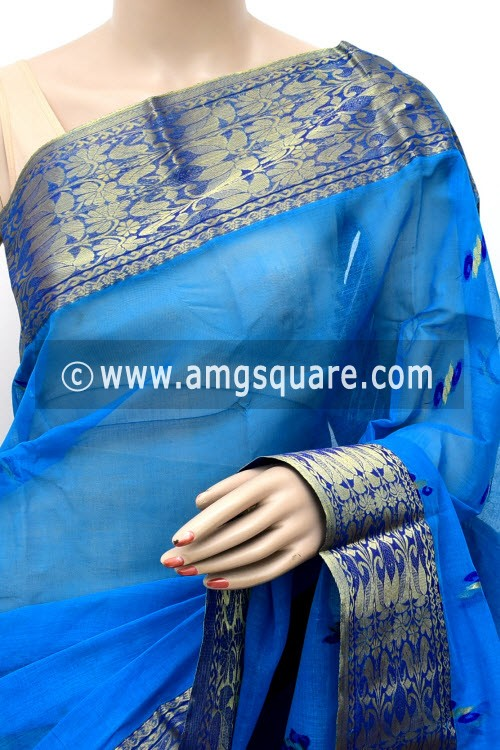 Deep Pherozi Blue Handwoven Bengal Tant Cotton Saree (Without Blouse) Zari Border 17128