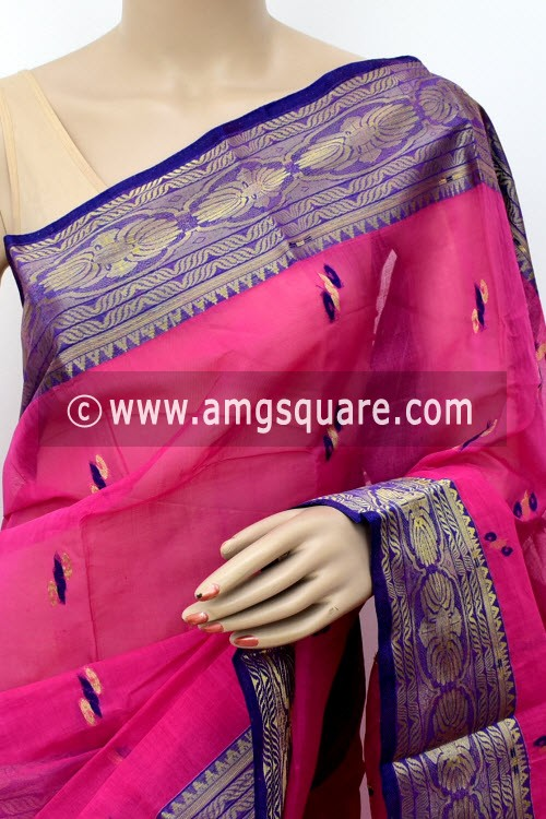 Pink Handwoven Bengal Tant Cotton Saree (Without Blouse) Zari Border 17129