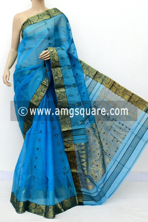 Pherozi Blue Handwoven Bengal Tant Cotton Saree (Without Blouse) Zari Border & Pallu 17130