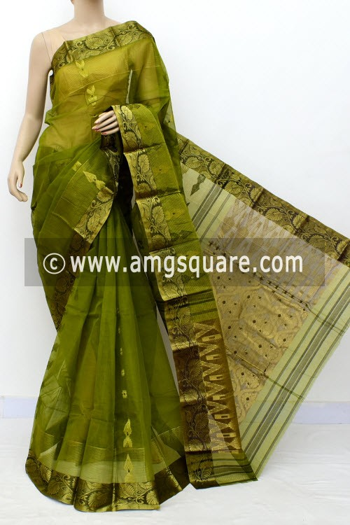 Menhdi Green Handwoven Bengal Tant Cotton Saree (Without Blouse) Zari Border & Pallu 17131