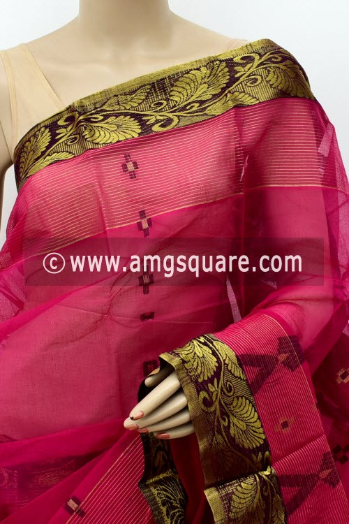 Pinkish Magenta Handwoven Bengal Tant Cotton Saree (Without Blouse) Zari Border & Pallu 17132