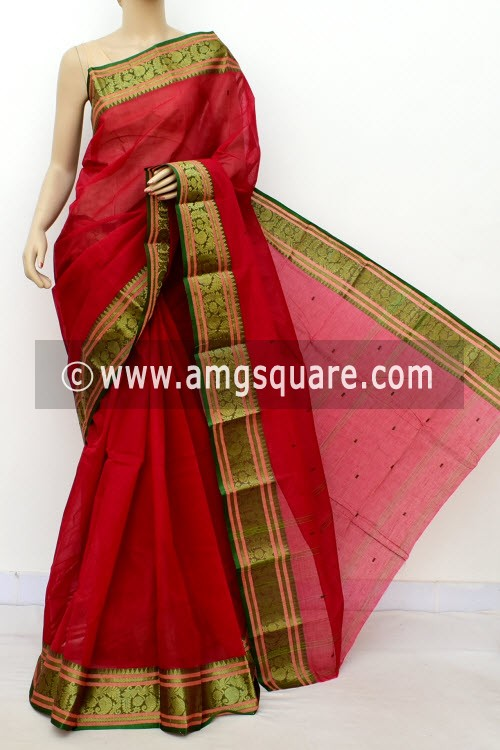 Red Handwoven Bengal Tant Cotton Saree (Without Blouse) Zari Border 17143