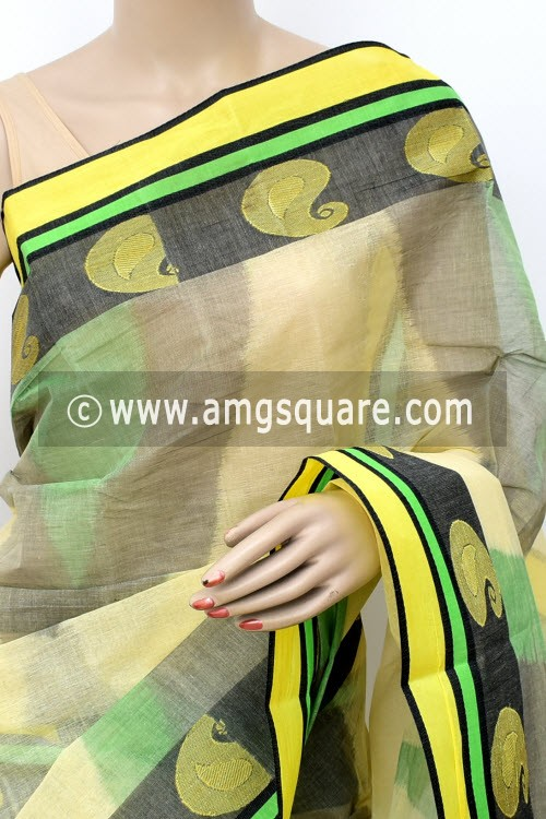 Cream Green Black Printed Handwoven Bengal Tant Cotton Saree (Without Blouse) Zari Border 17146