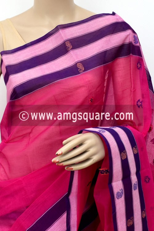 Pink Handwoven Bengal Tant Cotton Saree (Without Blouse) 17153