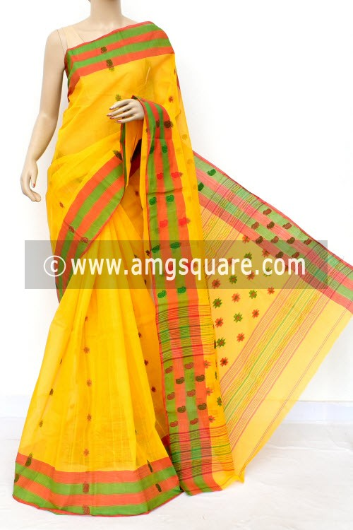Deep Yellow Handwoven Bengal Tant Cotton Saree (Without Blouse) 17154