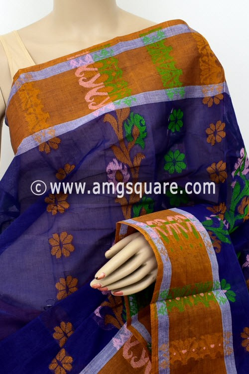 Ink Blue Handwoven Bengal Tant Cotton Saree (Without Blouse) 17161