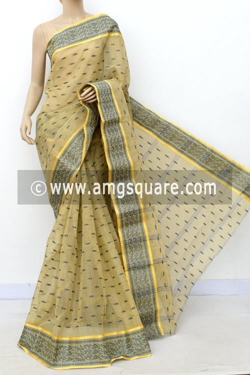Ash Color Handwoven Bengal Tant Cotton Saree (Without Blouse) Allover Booti, Resham Border 17175